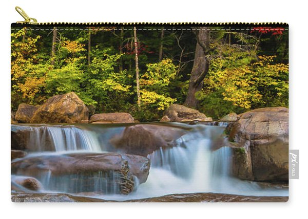 Carry-all Pouch featuring the photograph New Hampshire White Mountains Swift River Waterfall In Autumn With Fall Foliage by Ranjay Mitra