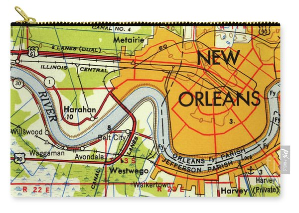 New Orleans Old Map Year 1945 Carry-all Pouch
