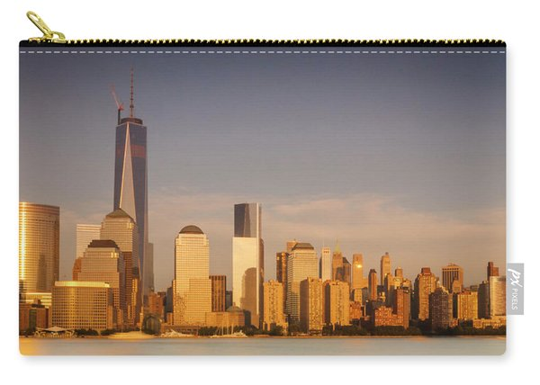 Carry-all Pouch featuring the photograph New World Trade Memorial Center And New York City Skyline Panorama by Ranjay Mitra