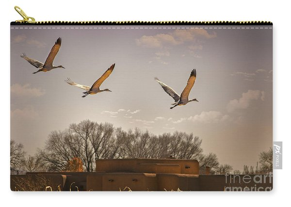 Carry-all Pouch featuring the photograph Flight Of The Cranes by Susan Warren