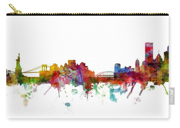 New York And Pittsburgh Skyline Mashup Carry-all Pouch