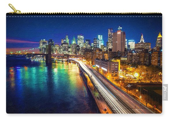 New York City Lights Blue Carry-all Pouch