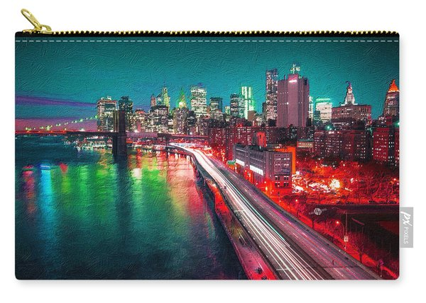 New York City Lights Red Carry-all Pouch