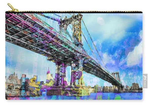 New York City Manhattan Bridge Blue Carry-all Pouch