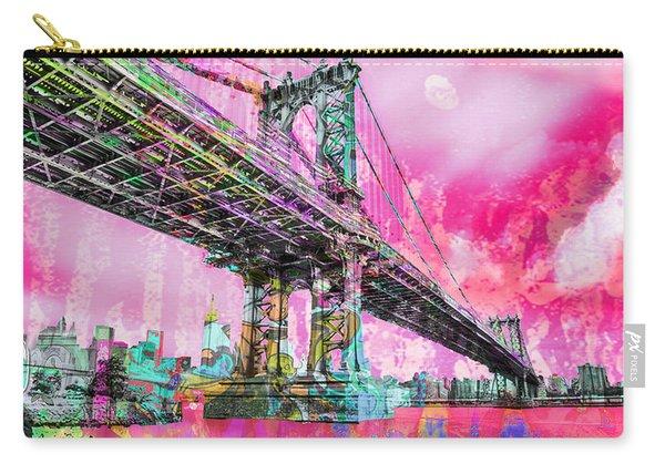 New York City Manhattan Bridge Red Carry-all Pouch