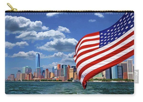 New York City Manhattan Skyline Ferry Flag Carry-all Pouch