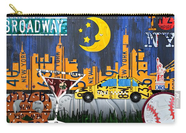 New York City Nyc The Big Apple License Plate Art Collage No 1 Carry-all Pouch