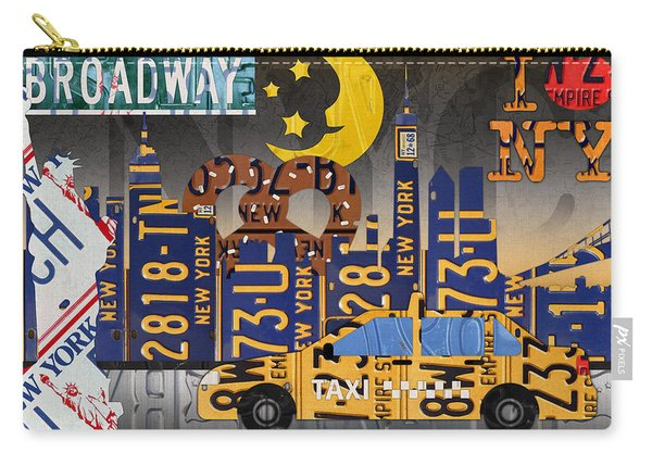 New York City Nyc The Big Apple License Plate Art Collage No 2 Carry-all Pouch