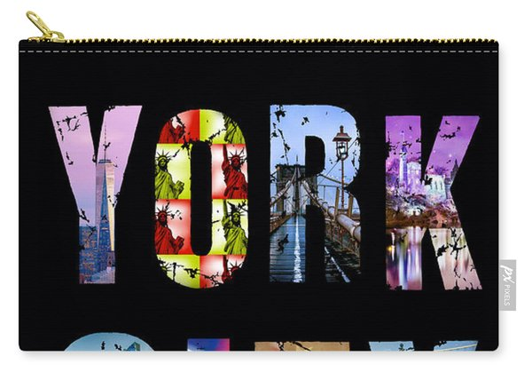 New York City Text On Black Carry-all Pouch