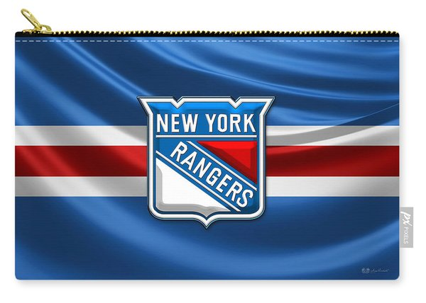 New York Rangers - 3d Badge Over Flag Carry-all Pouch
