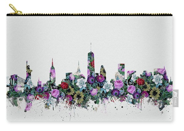 New York Skyline Floral 2 Carry-all Pouch