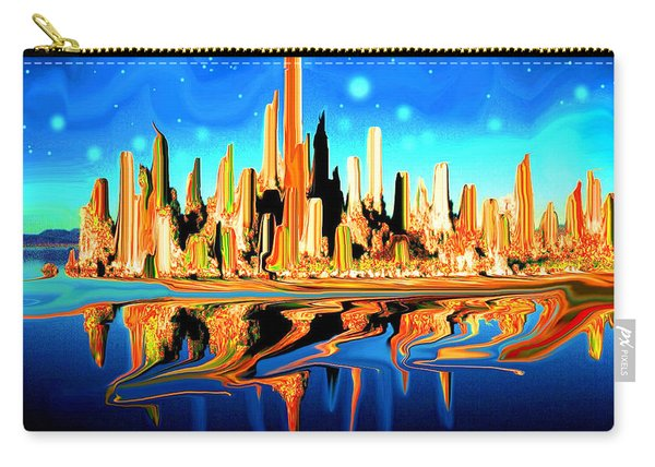 New York Skyline In Blue Orange - Modern Fantasy Art Carry-all Pouch