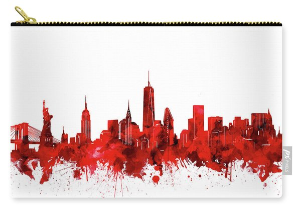 New York Skyline Waterocolor Red Carry-all Pouch