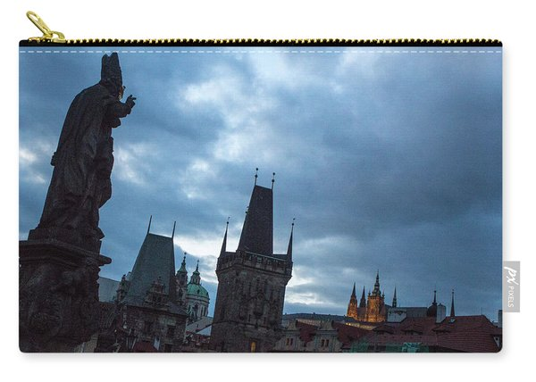 Carry-all Pouch featuring the photograph Night Along The St. Charles Bridge by Matthew Wolf