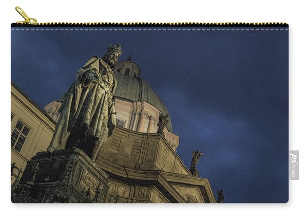 Carry-all Pouch featuring the photograph Night At The Foot Of St. Charles Bridge by Matthew Wolf