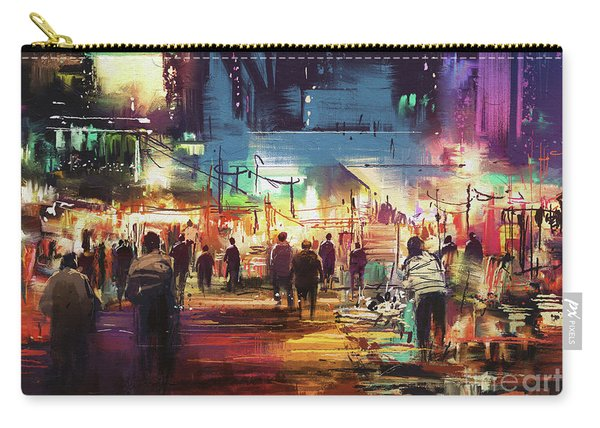 Carry-all Pouch featuring the painting Night Market by Tithi Luadthong