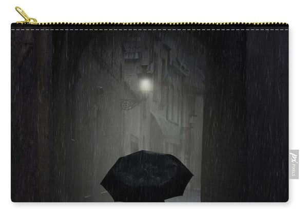 Carry-all Pouch featuring the photograph Night Walk In The Rain by Jaroslaw Blaminsky