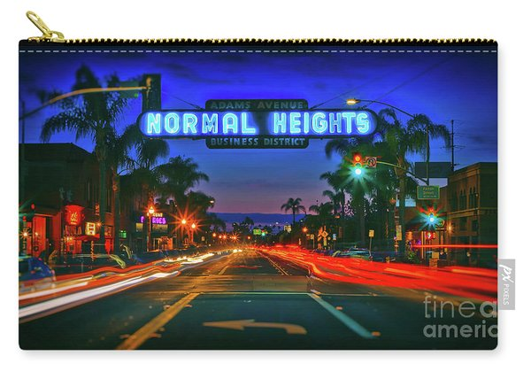 Carry-all Pouch featuring the photograph Nighttime Neon In Normal Heights, San Diego, California by Sam Antonio Photography