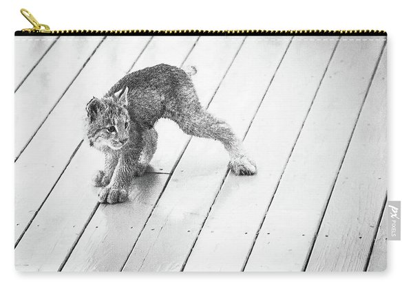 Carry-all Pouch featuring the photograph Ninja Lynx Kitty Bw by Tim Newton