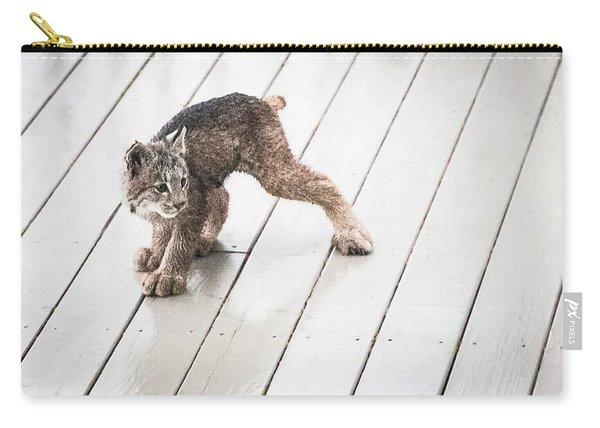 Carry-all Pouch featuring the photograph Ninja Lynx Kitty by Tim Newton