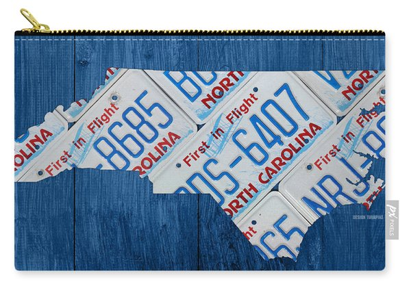 North Carolina Vintage Recycled License Plate Map On Blue Wood Plank Background Carry-all Pouch
