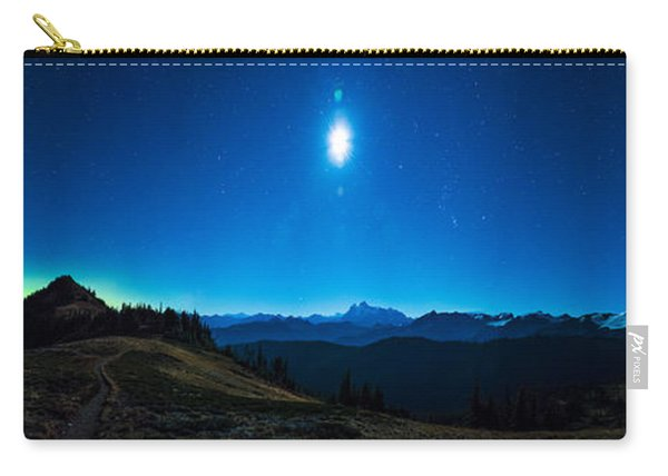 Northern Lights, Moon, And Mount Baker Carry-all Pouch