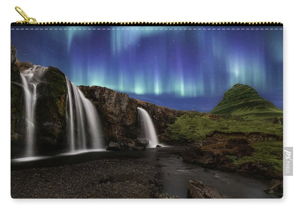 Northern Lights At Kirkjufellsfoss Waterfalls Iceland Carry-all Pouch