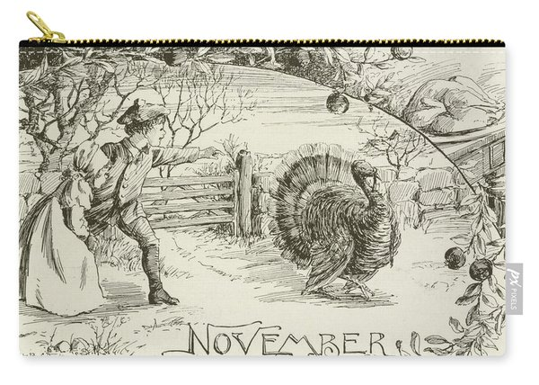 November   Vintage Thanksgiving Card Carry-all Pouch