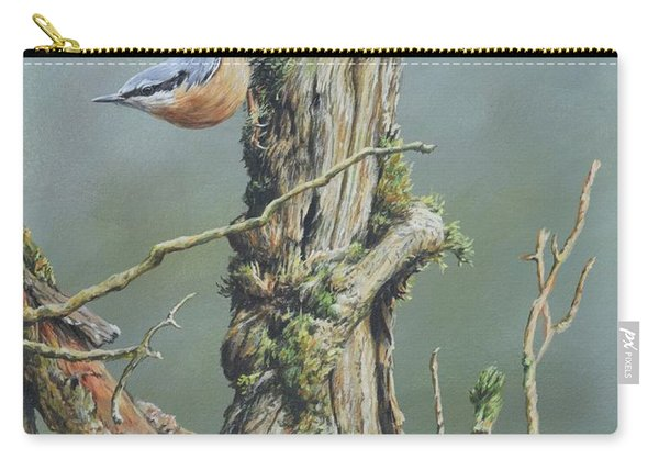 Carry-all Pouch featuring the painting Nuthatch by Alan M Hunt