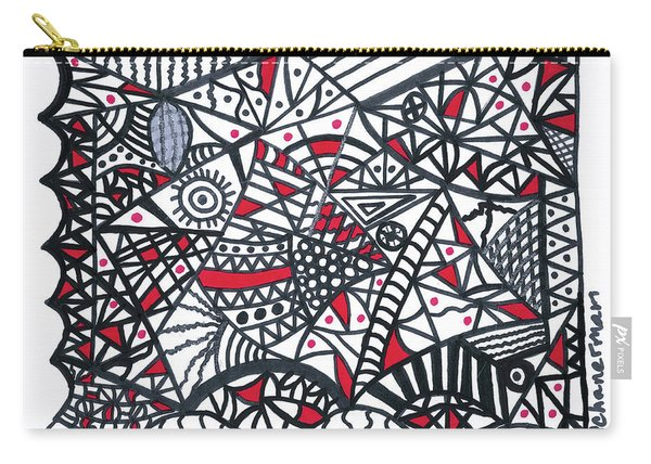 Objective Contrast With Red And Silver Carry-all Pouch