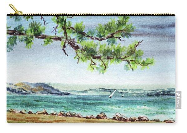 Ocean Beach Watercolour Landscape  Carry-all Pouch