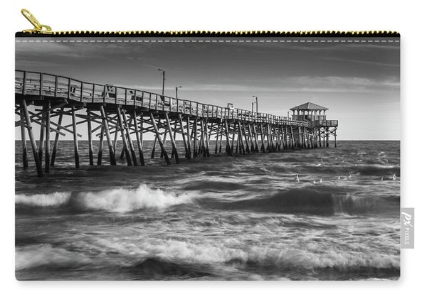 Carry-all Pouch featuring the photograph Oceana Ocean Crest Fishing Pier In Nc Panorama In Bw by Ranjay Mitra