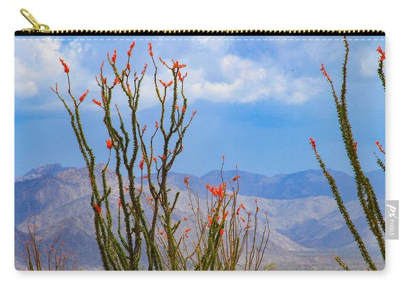 Ocotillo Cactus With Mountains And Sky Carry-all Pouch