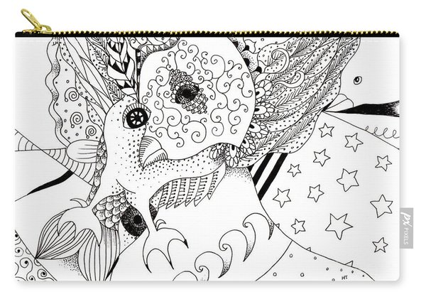 Carry-all Pouch featuring the drawing Odd 1 by Helena Tiainen