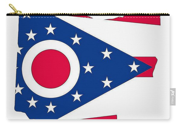 Ohio State Map With Flag Carry-all Pouch