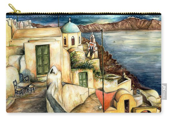 Oia Santorini Greece - Watercolor Carry-all Pouch