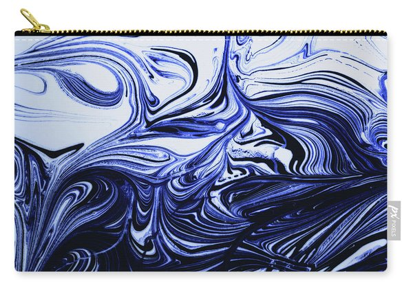 Oil Swirl Blue Droplets Abstract I Carry-all Pouch
