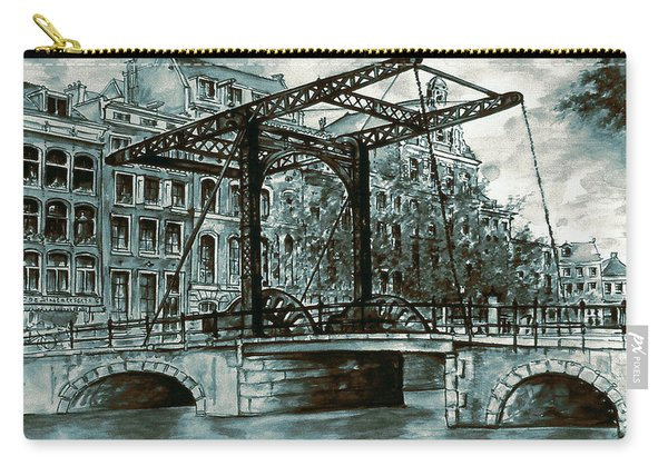 Old Amsterdam Bridge In Dutch Blue Water Colors Carry-all Pouch
