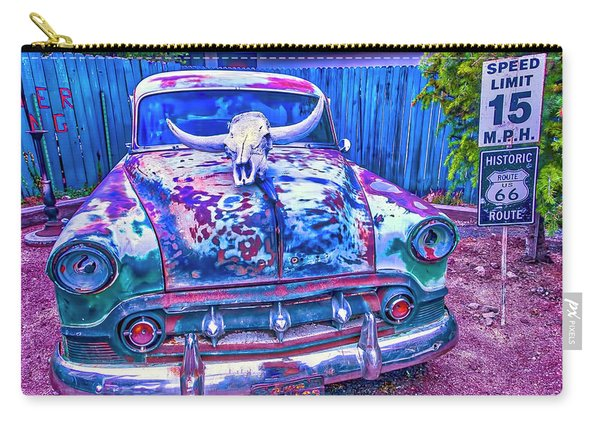 Old Car With Steer Skull Carry-all Pouch
