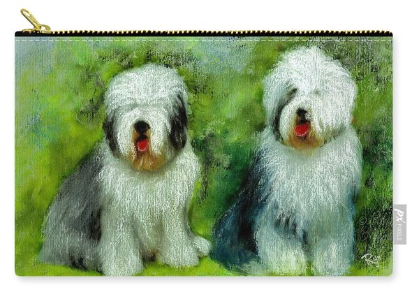 Carry-all Pouch featuring the painting Old English Sheepdog by Ryn Shell