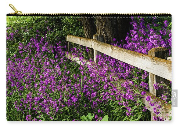 Old Fence And Purple Flowers Carry-all Pouch
