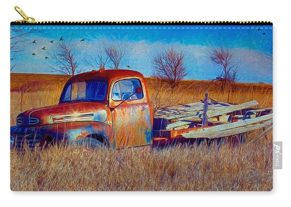 Old Ford F5 Truck Abandoned In Field Carry-all Pouch