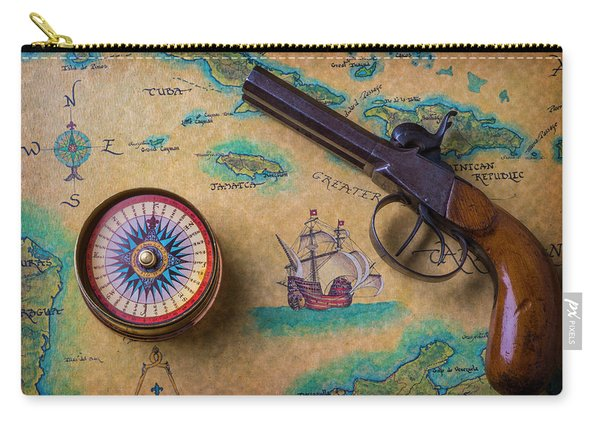 Old Gun And Compass On Map Carry-all Pouch