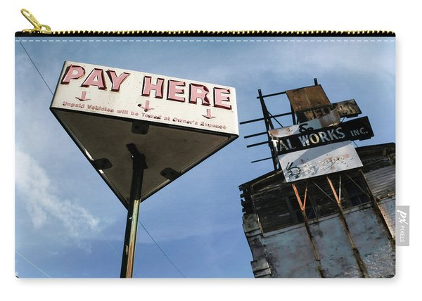 Old Pay Here Parking Sign Vintage Decay Carry-all Pouch