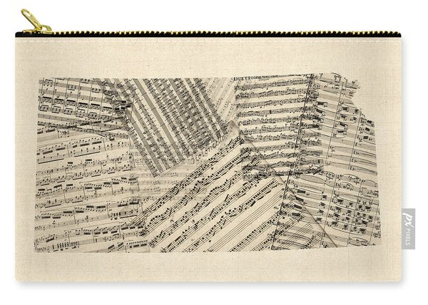 Old Sheet Music Map Of Kansas Carry-all Pouch