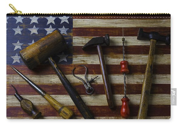 Old Tools On Wooden Flag Carry-all Pouch