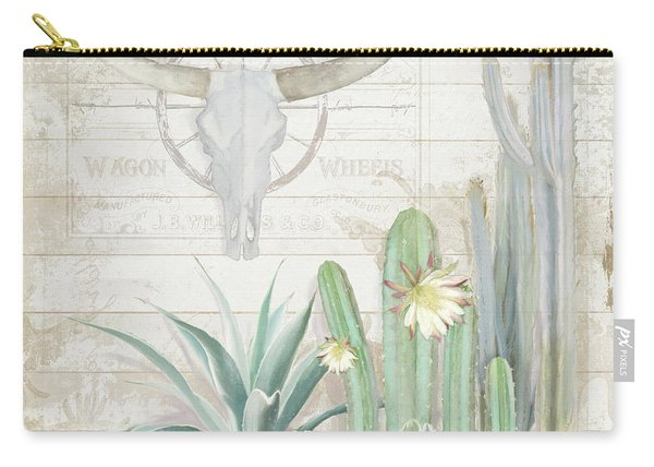 Old West Cactus Garden W Longhorn Cow Skull N Succulents Over Wood Carry-all Pouch