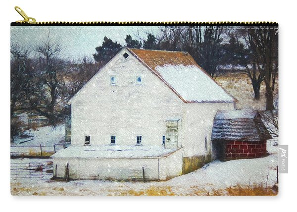 Old White Barn In Snow Carry-all Pouch