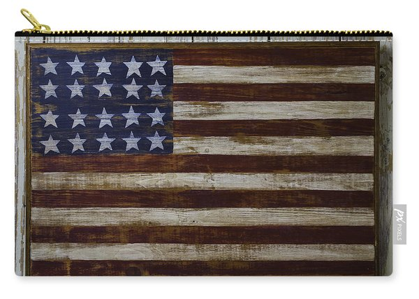 Old Wooden American Flag Carry-all Pouch