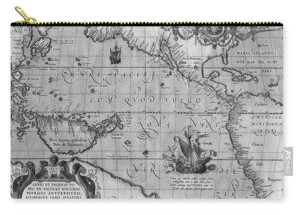 Old World Map Print From 1589 - Black And White Carry-all Pouch